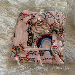 768d762fb40 milk snob Matching Sets - Milk snob knotted hat + gown Set HELLO RAINBOW